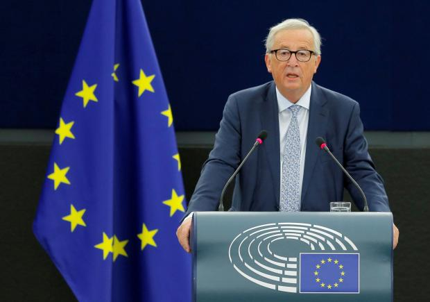 Mr Juncker delivers his speech. Photo: Reuters