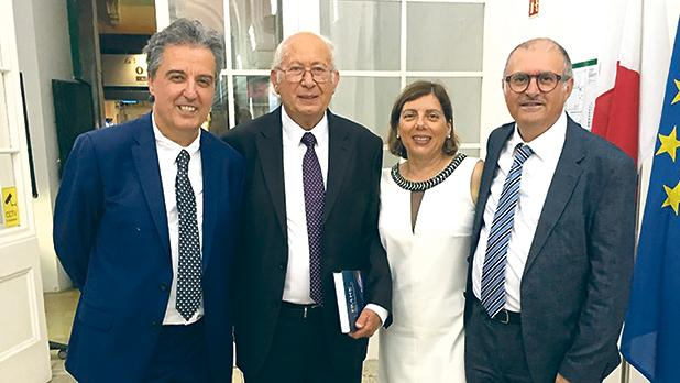 At the book launch (from left): Dr Michael Buhagiar, Prof. Frank Venura, Prof. Deborah Chetcuti and Dr Martin Musumeci.