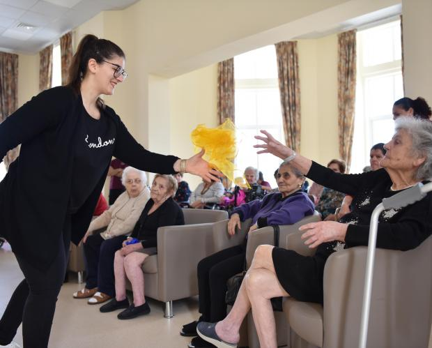 Elderly people participate in a game at San Vincenz de Paul residence in Luqa on April 20. Photo: Mark Zammit Cordina