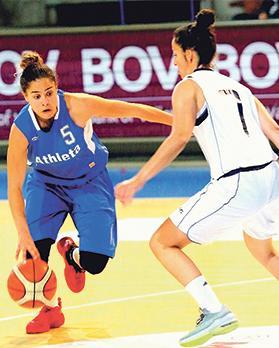 Athleta's Christina Grima (left) tries to move past Ina Baena Medina, of Luxol. Photo: Wally Galea