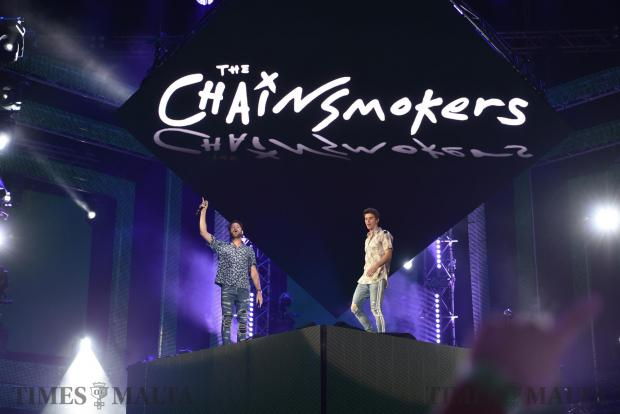 The Chainsmokers on stage wave at the crowd at the Granaries in Floriana at the Isle of MTV Festival on June 27. Photo: Mark Zammit Cordina