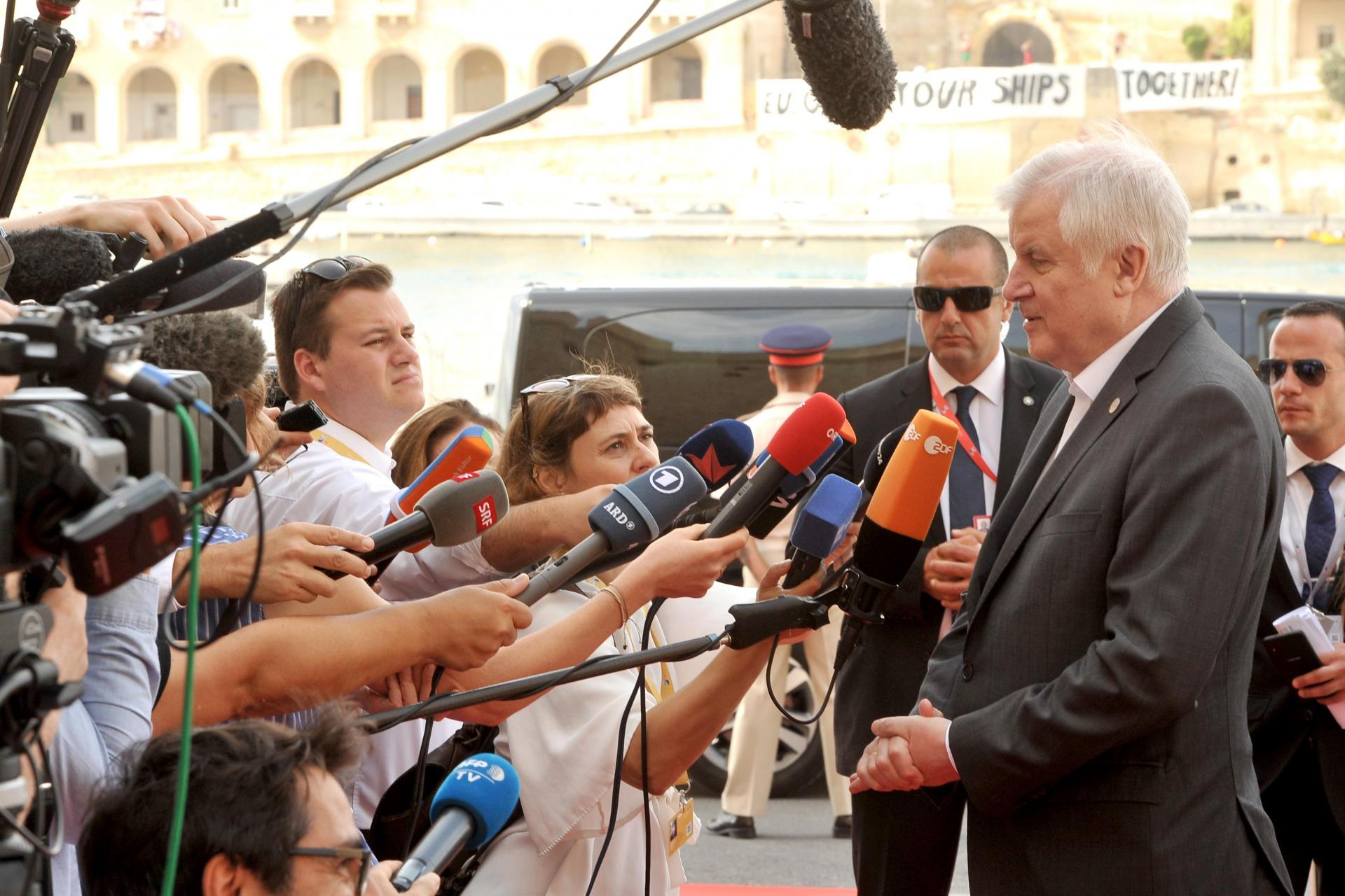 German minister Horst Seehofer speaks to the press earlier in the day. Photo: Chris Sant Fournier