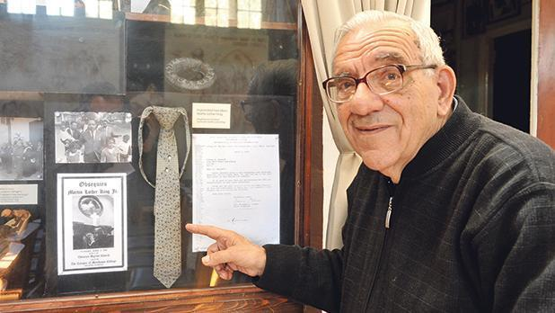 Fr Mintoff shows a tie worn by Martin Luther King, donated by his widow, Coretta. File photo