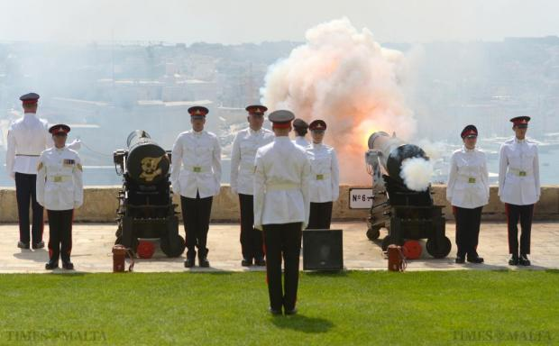A Victorian cannon is fired to mark the 300th anniversary of the Royal Regiment of Artillery at the Upper Barrakka, in Valletta on July 10. Photo: Matthew Mirabelli