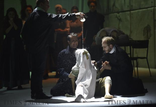 Actors take part in the production The Crucible on May 15, written as an allegory for 1950s McCarthyism by American playwright Arthur Miller. The play was staged at the Manoel Theatre in Valletta. Photo: Mark Zammit Cordina
