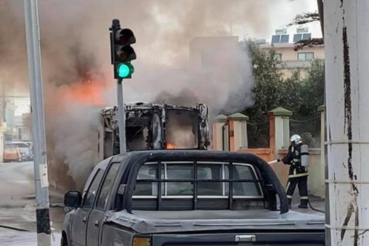 The bus on fire on Tuesday. Picture Stradivario Attard - Facebook Times of Malta.