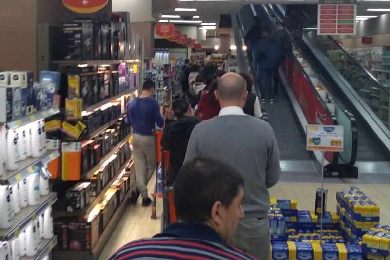Queues down the aisles in Valyou, Naxxar on Thursday night.