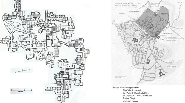 Plan of St Agatha's Catacombs – only one-tenth of the area is open to the public. Right: The Punico-Roman Town of Melita (shaded) in the context of modern Mdina and Rabat.