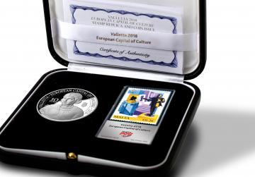 Silver coin, foil stamp commemorating Valletta 2018 issued