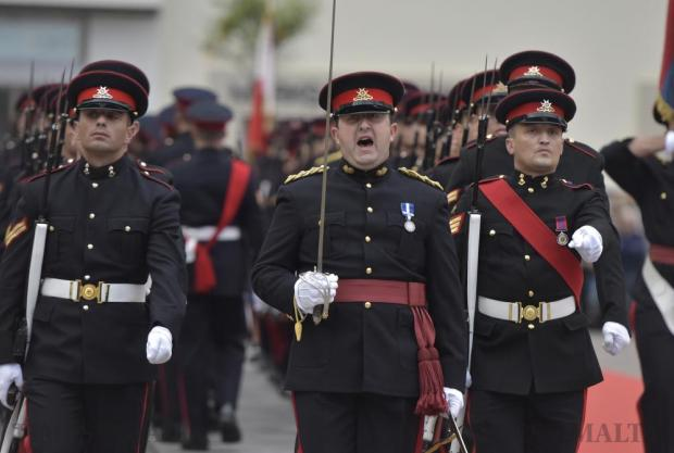 An Armed Forces of Malta parade commander shouts out his commands during the Republic Day parade in Valletta on December 13. Photo: Mark Zammit Cordina