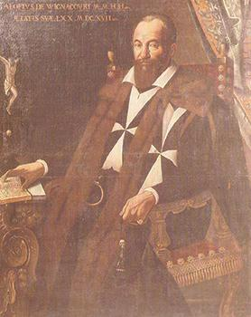 Cassarino's painting of Grand Master Alof de Wignacourt (1601-1622) who was determined to solve Valletta's 'water problem'. Courtesy: Wignacourt Museum, Rabat