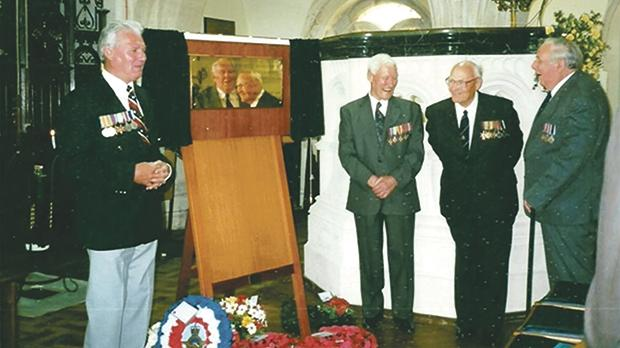 David Woodcock (left) with the three remaining survivors from the tragedy at the 2003 memorial service held at HMS Drake, Plymouth.