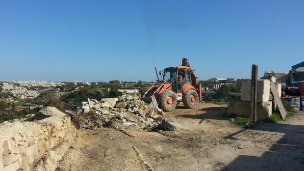 Polidano workers clearing illegal sites in Hal Farrug.