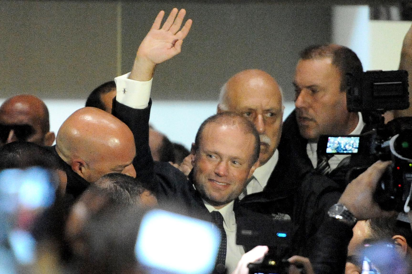 Joseph Muscat outside party headquarters on Monday night. Photo: Chris Sant Fournier