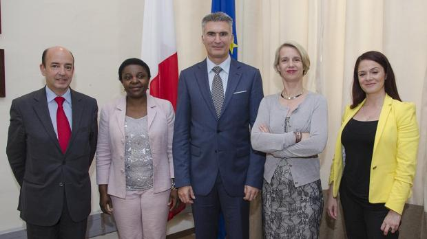 Dr Abela (centre) was paid a courtesy call by an MEP delegation. Photo: Join Pisani/MHAS