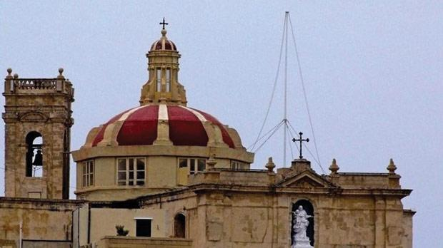 The dome, belfry and statue on the facade of the church of Our Lady of Porto Salvo. Photo: Joseph Bugeja
