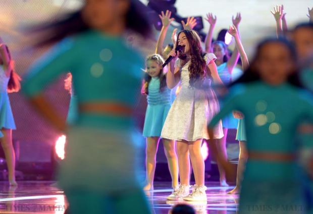 "Malta's Gaia Cauchi performs at the final of the Junior Eurovision Song contest at Marsa on November 15, Gaia had represented Malta at the Junior Eurovision Song Contest in 2013 and won the contest with her song ""The Start"". Photo: Matthew Mirabelli"