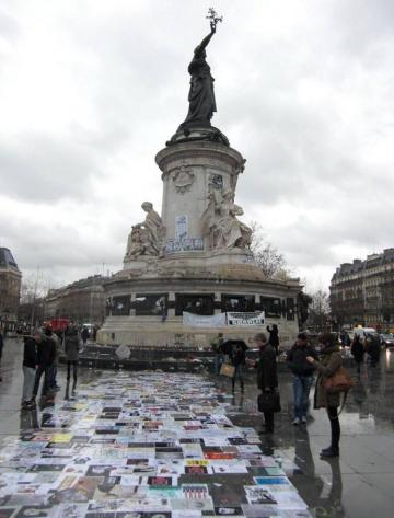 Place de la Republique in Paris where the late Charlie Hebdo journalists are honoured.