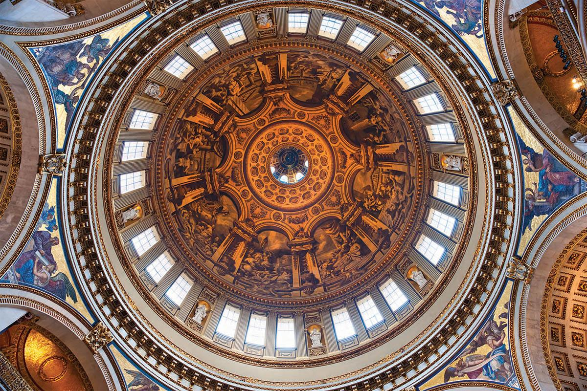 St Paul's Cathedral dome interior with paintings by British court painter Sir James Thornhill. Photo: Shutterstock.com