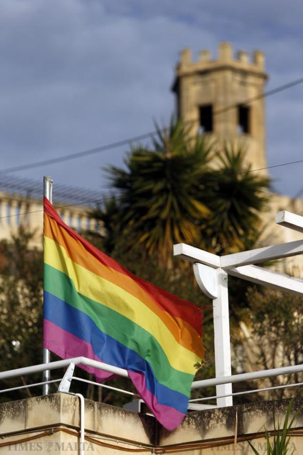 A rainbow flag flies over a popular gay bar in Pieta on February 15. Malta is being promoted as a gay travel destination, according to the Malta Tourism Authority. Photo: Darrin Zammit Lupi