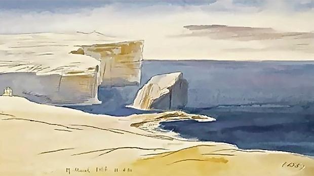 An Edward Lear Dwejra painting 1866.