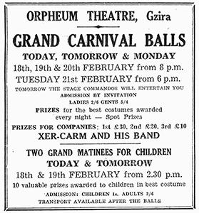 Orpheum Theatre advertisement in the Times of Malta of February 18, 1950.