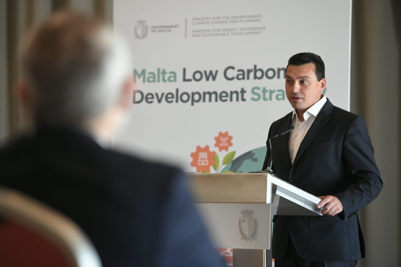 Environment Minister Aaron Farrugia speaks as he launches the strategy. Photo: Jonathan Borg
