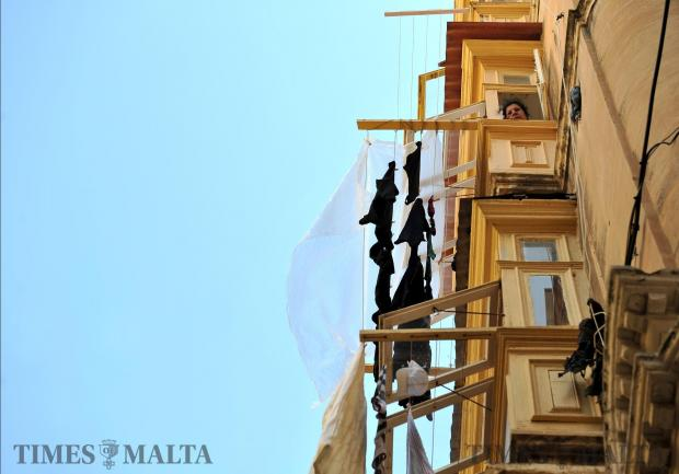 Clothes hang out to dry in Valletta on March 1. Photo: Chris Sant Fournier