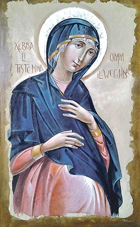 The icon of Our lady of Advent waiting for the Lord to come, 'written' by Nathaniel Theuma, venerated at the MSSP Oratory in Birkirkara.