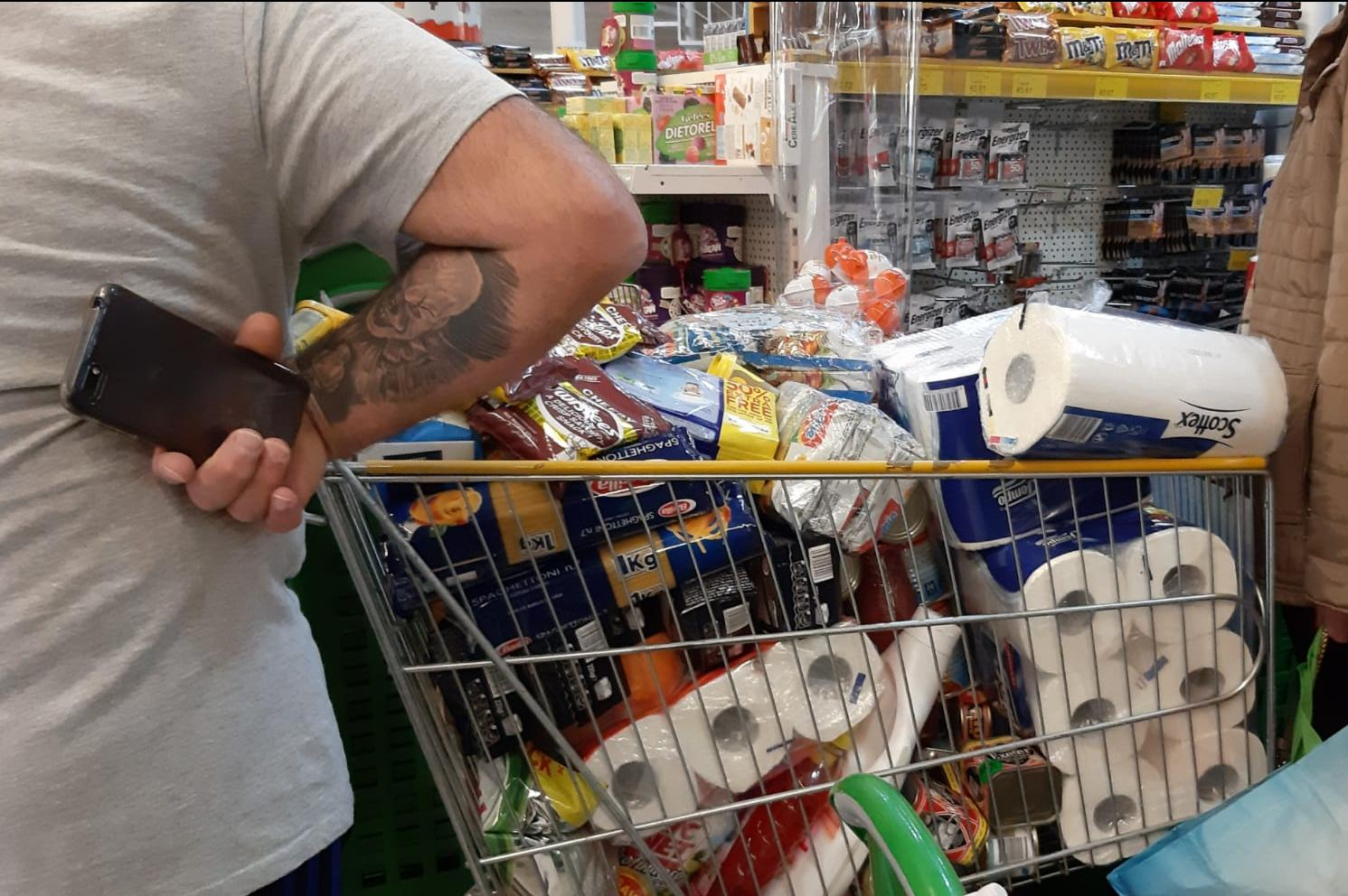 Shoppers continued to stock up on essentials such as toilet paper on Tuesday. Photo: Chris Sant Fournier