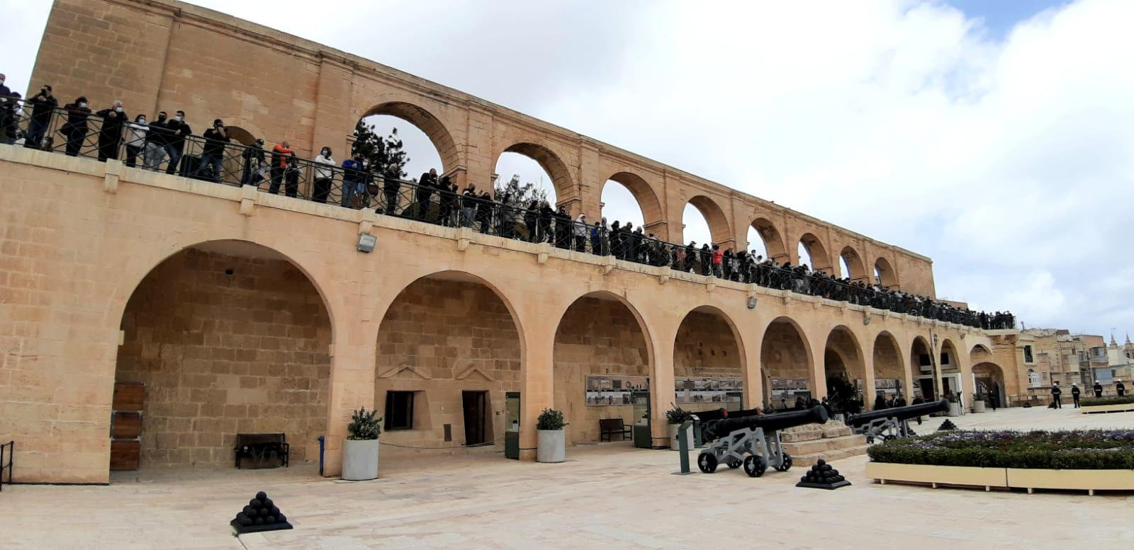 People gather at Upper Barrakka to witness the gun salute. Photo: Chris Sant Fournier