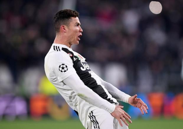 Juventus' Cristiano Ronaldo celebrates at the end of the match.