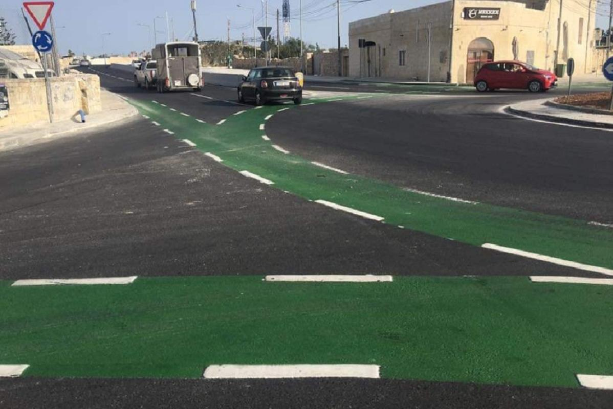 Cyclists say the new bike lanes on Tal-Balal road, already flagged as unsafe by the transport authority, do not offer sufficient protection for such a busy junction. Photo: Bicycle Advocacy Group.