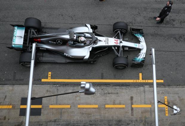 Lewis Hamilton of Mercedes during testing.