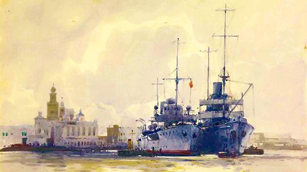 Frank Mason, Fleet Messengers at Malta: HMS Asphodel and Ivy, 1919, Imperial War Museum. Photo: Imperial War Museum (Art. IWM Art 3109)