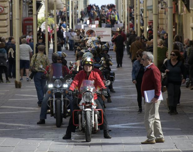 Grandparents ride on Motorcycles in Valletta as they celebrate the third anniversary since Parliament upheld a proposal to celebrate Jum in-nanniet on March 12. Photo: Mark Zammit Cordina