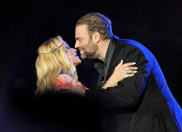 World famous tenor Joseph Calleja welcomes Anastacia on stage at the Luxol Grounds on August 3. Photo: Chris Sant Fournier