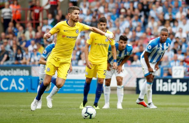 Chelsea's Jorginho scores their second goal from the penalty spot.