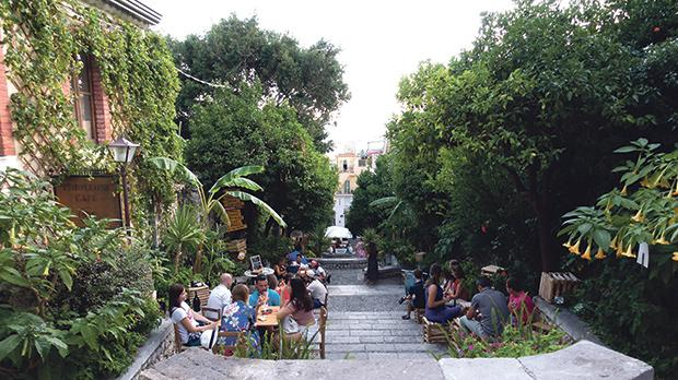 Popular gathering space in Taormina next to the Greek theatre.