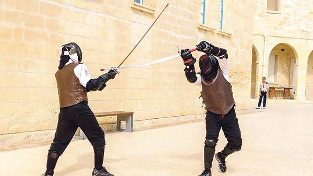 Members of the Malta Historical Fencing Association during a demonstration at Fort St Angelo in Vittoriosa.