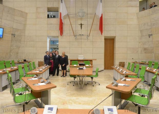 As the doors of the new Parliament are opened Prime Minister Joseph Muscat, President Marie-Louise Coleiro Preca, Archbishop Charles Scicluna and Opposition leader Simon Busuttil make their way into the chamber on May 4. Photo: Matthew Mirabelli