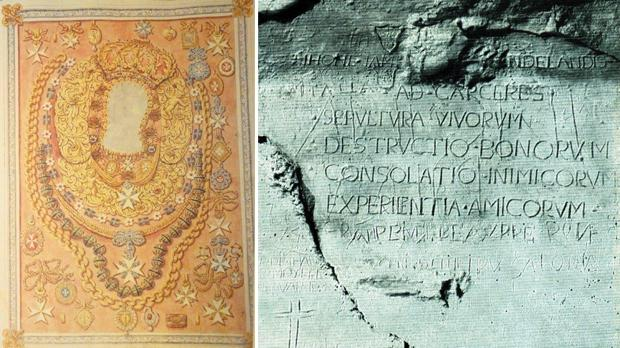 The dress of Our Lady of Philermos, from which Fra Stamati Condo stole jewels in 1556. Right: The desperate graffito incised in the underground guva of Fort St Angelo by Sir John James Sandilands, executed in 1564 for theft from a church.