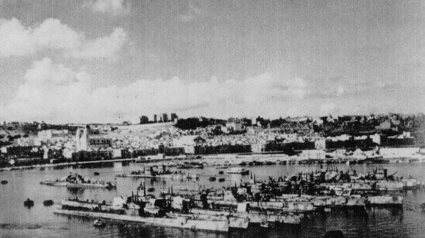 The interned Italian submarines moored at Lazaretto Creek. This photo was taken some time between September 18 and October 5, 1943.