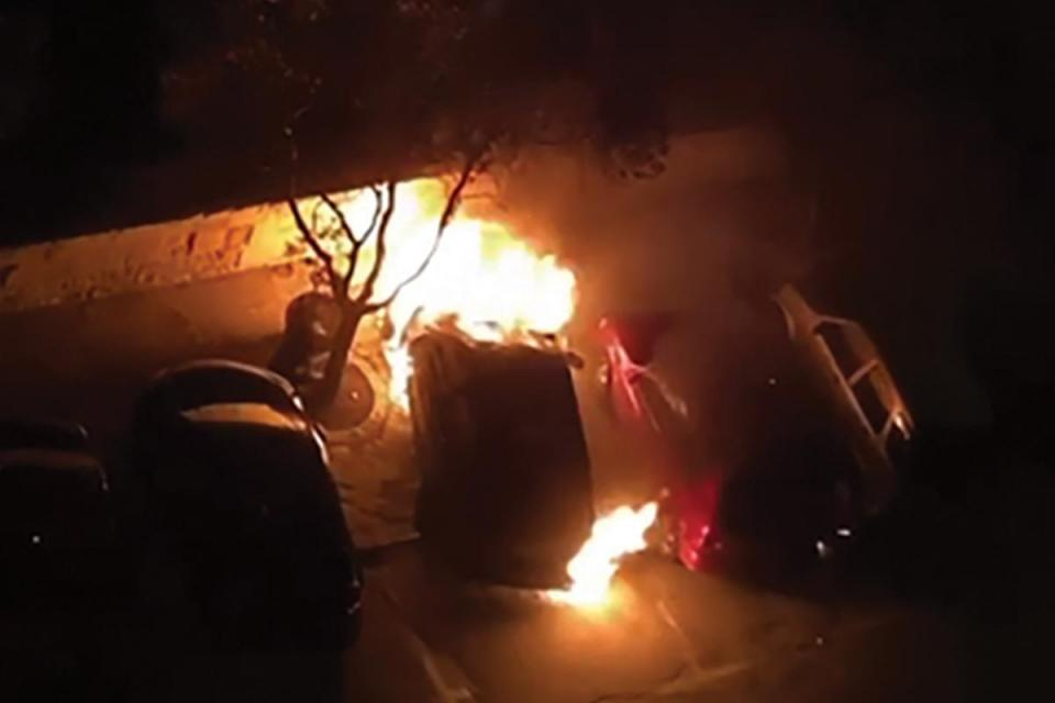 One of the fires in Valletta taken from a video posted on social media.