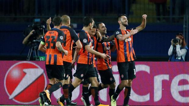 Shakhtar Donetsk's Facundo Ferreyra celebrates scoring their second goal.