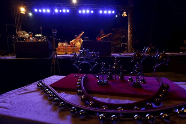 Indian sitar player Ashwin Batish (centre) performs with his Sitar Power band at the Ghanafest folk music festival at Argotti Gardens in Floriana on June 13. The three-day festival is a showcase of Maltese folksong as well as international music folk fusion music. Photo: Darrin Zammit Lupi