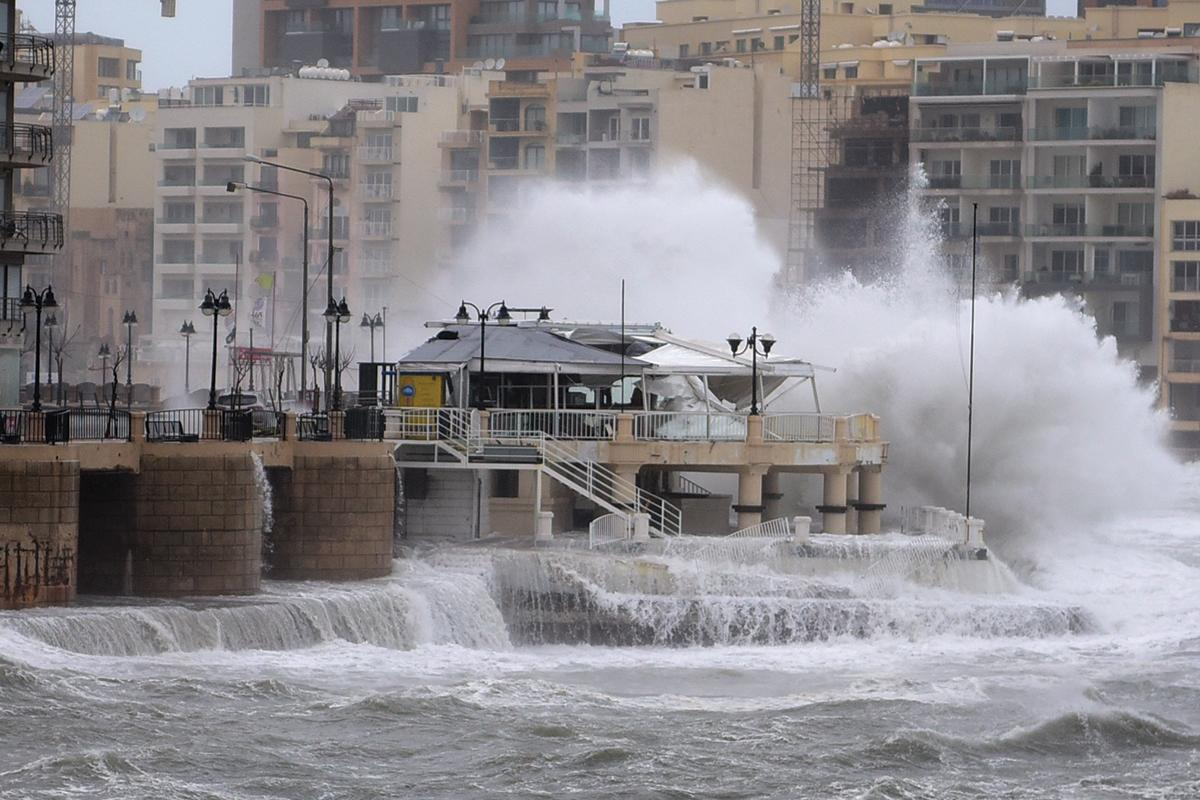 A storm batters parts of Malta, wreaking havoc along the coast on February 24, 2019. A restaurant was destroyed by strong waves in St Julian's. Photo: Mark Zammit Cordina