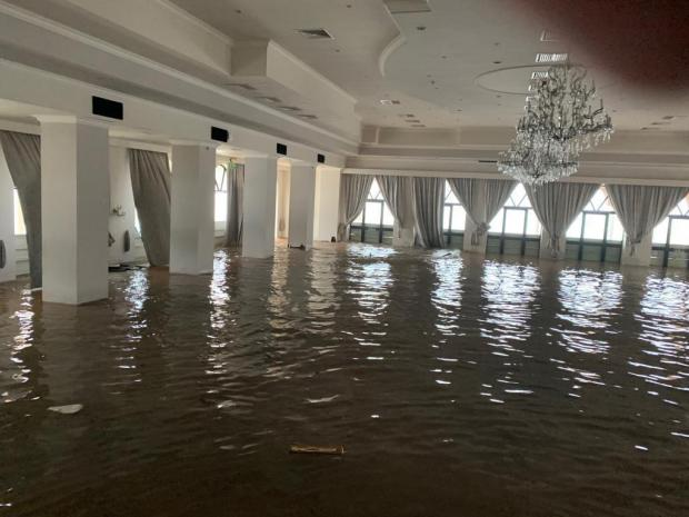 The ballroom of the Radisson Hotel was flooded.