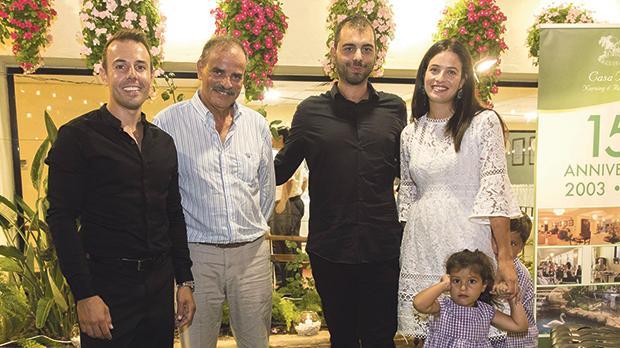 Tenor Nico Darmanin, Casa Antonia's managing director Edward Vella, pianist Leonardo Barilaro, Casa Antonia's general manager Dr Sarah Cassar and her children.