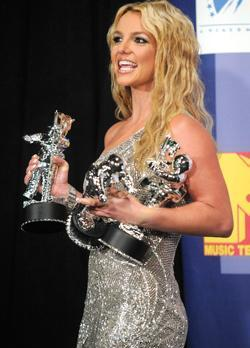 Britney Spears stands backstage with her three awards for best pop video, video of the year and best female video for Piece of Me at the 2008 MTV Video Music Awards in Los Angeles last Sunday.